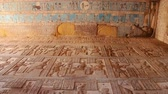 ??ken : Beautiful interior of the Temple of Dendera or the Temple of Hathor. Egypt, Dendera, Ancient Egyptian temple near the city of Ken Stock Footage
