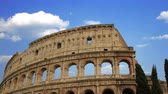 building of the Colosseum in Rome close up Stock Footage