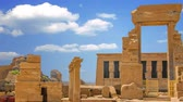 The ruins of the beautiful ancient temple of Dendera or Hathor Temple. Egypt Stock Footage