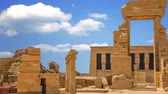 The ruins of the beautiful ancient temple of Dendera or Hathor Temple. Egypt Stockvideo