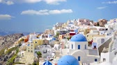 White houses and blue roofs Santorini Greece. Stock Footage