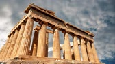 ageless : Parfenon, ancient Greek temple, located on the Acropolis of Athens Stock Footage