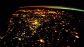 grande angular : Flying over the earths surface, shot from the space station. Flying over Italy Vídeos