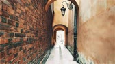 shabby : Walk along the narrow street in Warsaw, Poland. Stock Footage
