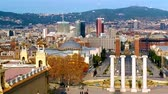 montjuic : City traffic on the Plaza de Espana in Barcelona, Stock Footage