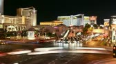 city lights : Time lapse Las Vegas Strip at night. All trademarks are blurred.  Stock Footage