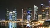 city lights : Time lapse Singapore skyline at night. Pan movement.
