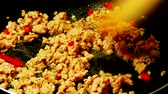 molho : Stir fried pork in a pan. Stock Footage