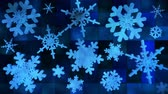Broadcast Spinning Hi-Tech Snow Flakes, Blue, Events, Loopable, 4K