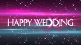 tipo de letra : Happy Wedding message opening title, with sparkles and blue  purple background