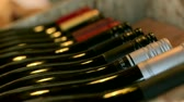 glass : Wairapa, New Zealand. view over wine rack with shallow depth of field Stock Footage