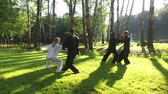 quimono : Training in the park. Workout. Group of four people practicing qigong. 4K Vídeos