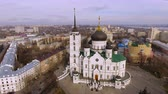 bishop : Aerial shot of russian city - Voronezh. The Annunciation Cathedral. 4K