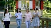 čtyři lidé : Four young beautiful women walking in the park, talking and drinking coffee. 4K