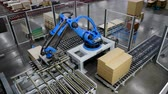 eficiente : Furniture factory. A modern automated machine packaging furniture parts in cartons. 4K Vídeos