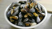 mussel dish : Fresh shellfish seafood. Close-up of bowl with raw mussels in opened shells. 4K
