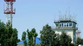 радар : Exterior view of air traffic control tower. 4K
