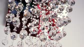 swarovski : Interior of luxury house. Close-up shot of crystal modern chandelier. 4K Stock Footage