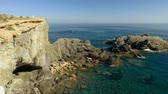 zátoka : The rocky headland of Cabo de Palos. Bay along the coastline of Mediterranean sea in Spain. 4K