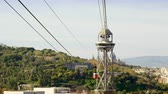 montjuic : Cable car to Montjuic mountain. City view of Barcelona. Spain. Europe. 4K Stock Footage