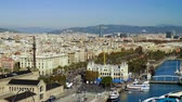 montjuic : Urban landscape. Monument to Columbus. View of city Barcelona from Montjuic mountain. Spain. 4K