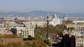 Urban landscape. Monument to Columbus. View of city Barcelona from Montjuic mountain. Spain. 4K