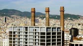 Urban landscape. View of city Barcelona from Montjuic mountain. Spain. 4K Stok Video