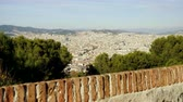 montjuic : Urban landscape. View of city Barcelona from Montjuic mountain. Spain. 4K Stock Footage