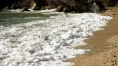 Seascape. Great waves breaking on the shore of Ionian sea. Greece. Slow motion. HD