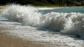 waves breaking on the shore : Seascape. Great waves breaking on the shore of Ionian sea. Greece. Slow motion. HD
