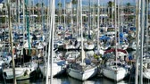 float : Marina yacht club. Sailboats moored at the pier in Barcelona. Spain. 4K Stock Footage