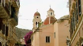europa : Architecture of Kerkira city. Dome of the Catholic Cathedral in Corfu. Greece. 4K Wideo