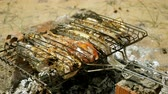 бифштекс : Mackerel, perch, sea bass, dorado, mullet, tuna. Close-up shot of fish grilled over charcoal. 4K
