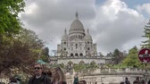 turyści : Hyperlapse of Basilica of the Sacred Heart of Paris