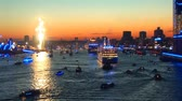 торжества : Germany - Hamburg Port Celebrates 823rd Birthday - Festival with a party and ships parade - Celebrations and events Стоковые видеозаписи