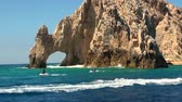landmark : Mexico - Cabo San Lucas - Rocks and beaches - El Arco de Cabo San Lucas - Travel Destination - North America Stock Footage