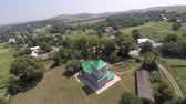 čtyřicet : beautiful landscape church in the countryside. drone video.