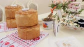 paper towel : Wedding table with sweet traditional wedding loaf Stock Footage