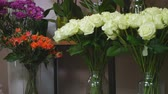 bloom : Collection of beautiful roses for sale at a floristic shop