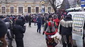 ukrán : CHERNIVTSI, UKRAINE - JAN 15, 2018: Malanka Festival in Chernivtsi. Folk festivities on the streets dressed people in comical costumes Stock mozgókép