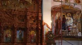 keretében : 30.01.2018, Chernivtsi, Ukraine - beautiful wooden iconostasis in the new church Stock mozgókép
