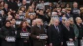 charlie hebdo : STRASBOURG, FRANCE - 8 JAN 2015: European Court of Human Rights President Dean Spielmann and Registrar Erik Fribergh, Judges and jurists observe a minute of silence in Strasbourg for the victims of an attack by armed gunmen on the offices of French satiri Stock Footage