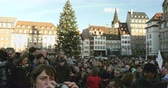 charlie hebdo : STRASBOURG, FRANCE - 11 JAN, 2015:     Place Kleber during a unity rally (Marche Republicaine) where some 50000 people took part in tribute three-day killing spree in Paris