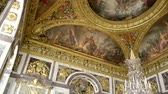 must see : VERSAILLES, FRANCE - CIRCA 2014: The Peace Salon - roof decorations - located at the southern end of the Hall of Mirrors (opposite to the War Salon) Stock Footage