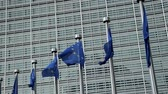 funcionários : Flags of Europe in front of the office windows of the Berlaymont building of the European Commission in Brussels, Belgium waving in slow motion