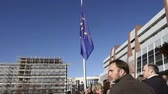 extremism : STRASBOURG, FRANCE - NOV 16, 2015: Council of Europe employees  attending the COE building for the minute of silence in tribute to the victims of the attacks in Paris  which left at least 129 people dead Stock Footage