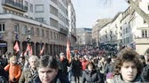 valls macrom : STRASBOURG, FRANCE - 9 MAR 2016: Thousands of people demonstrate as part of nationwide day of protest against proposed labor reforms by Socialist Government in the center of Strasbourg