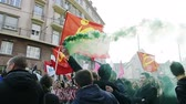 granada : STRASBOURG, FRANCE - 9 MAR 2016: People burn flares and smoke grenades as thousands of people demonstrate as part of nationwide day of protest against proposed labor reforms by Socialist Government Vídeos