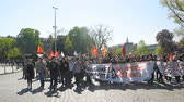 valls macrom : STRASBOURG, FRANCE - APR 20, 2016: Hundreds of students demonstrate in front of University of Strasbourg as part of nationwide day of protest against proposed labor reforms by Socialist Government