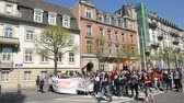 valls macrom : STRASBOURG, FRANCE - APR 20, 2016: Closed Avenue des Vosges as hundreds of people demonstrate as part of nationwide day of protest against proposed labor reforms by Socialist Government